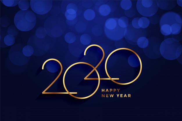 Carte voeux bonne annee or bleu bokeh 2020 1017 22566
